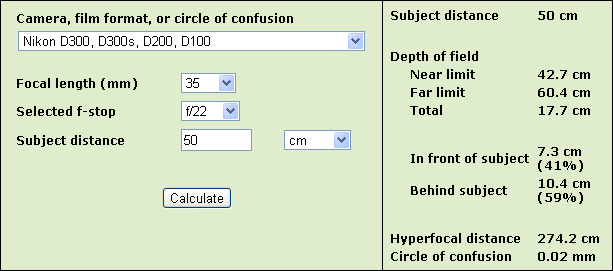 DoF calculator - www.dofmaster.com