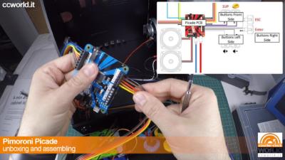 Si collegano tutti i fili alla PCB Picade. Fate riferimento allo schema. Nel video c'è un errore.